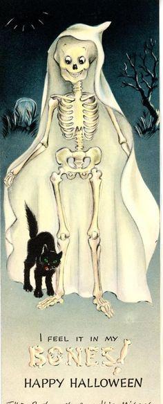 Vintage Hallmark Halloween Greeting Card Witch Ghost Graveyard Skeleton 2435 | #1867866730