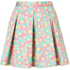 Daisy Printed Pleated Skirt ($20) ❤ liked on Polyvore featuring skirts, bottoms, saias, faldas, pink skirt, swing skirt, cotton skirt, flippy skirt and pleated skirt