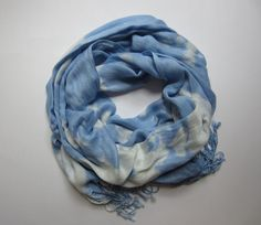 Hand-dyed, Up-cycled Light Blue and White Pashmina Scarf Shawl Wrap Unisex scarf, Fall scarf, 2013 fall scarf