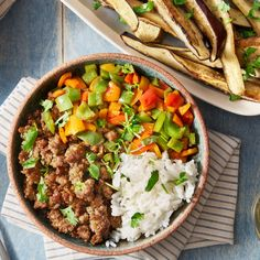 Sweet & Sour Pork Bowls with Sautéed Peppers & Miso-Roasted Eggplant