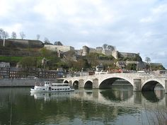 Namur (Belgium), the Meuse river, the Jambes' bridge and the citadel.