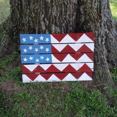 Pallet wood flag  custom painted  reclaimed by TheHomemadeCandle, $40.00