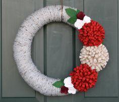 """Rustic Wreath: Grey and Red 14"""" Holiday Yarn Wreath w/ Felt Flowers, Christmas Wreath"""