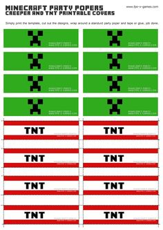 tnt free printables | Printable Minecraft Creeper & TNT party popper cover templates: