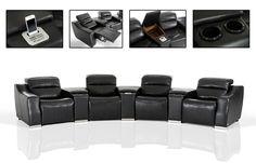 VGKNE9020-ECOBLK-Divani Casa Salem Modern Black Eco-Leather Recliner Sectional Sofa with Audio SystemFinishing:Black Eco-LeatherDimensions:Armrest Seat: W34