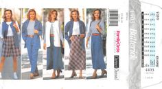 Size 12 14 16 Bust 34 36 38; Butterick 4403 Family Circle Career Casual; Misses Jacket Vest Top Skirt Shorts Pants Sewing Pattern by AffordablePatterns