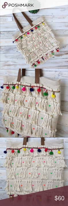🎉HOST PICK🎉 Beautiful!! Pom Pom Tote Bag Beautiful Pom Pom Tote Bag, Bohemian Inspired, handmade tote. Feel free to ask me any questions. Reasonable offers are considered. No traded, or modeling. Happy Poshing!! Bags Totes