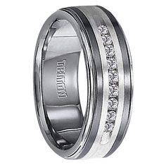 Best Seller - 1/4 cwt Genuine Diamond Wedding Band with Sterling Silver - Tungsten - Z218C
