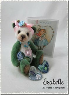 Isabelle is a one-of-a-kind handmade teddy bear created for the adult collector by Warm Heart Bears