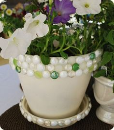 Make a Jeweled Planter. Dollar store craft project.