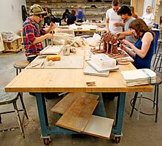 Lista heavy-duty worktables with mobile legs provide ample worksurface area, sturdy support, relocation flexibility, and years of dependable use in the sculpture and ceramics studio.