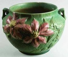 Roseville Pottery Clematis - forest green circa 1944