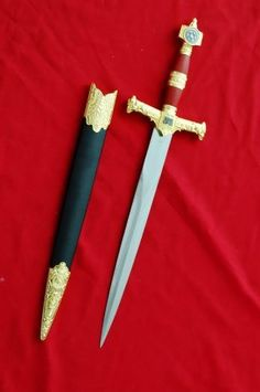 """21"""" Medieval Solomon King Crusader Dagger Red Handle by QSWORDS. $24.69. King Solomon is a figure described in the Hebrew Bible (Old Testament) and the Qur'an. The Bible identifies him as the son of David. He was the third king of the United Monarchy, and the final king before the northern Kingdom of Israel and the southern Kingdom of Judah split.      The Bible accredits Solomon as the builder of the First Temple in Jerusalem, and portrays him as great in wisdo..."""