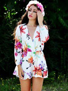 White,Floral Print,Long Sleeve,Romper,Playsuit