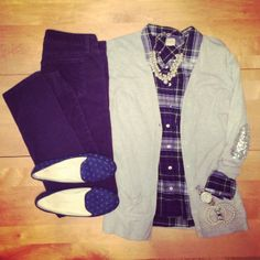 navy plaid shirt, pearls, preppy, sequin elbow patches, navy cords, polka dot loafers, work wear, professional, office outfit | IG: @whitecoatwardrobe