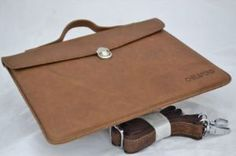 GIFT NEW IPAD SATCHEL BROWN SLIM BRIEFCASE COW LEATHER THIN Universal iPad Fit