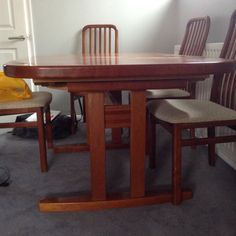 Tapley Cherry Wood Extending Dining Table Seats 6-8 And 6 High Back Chairs