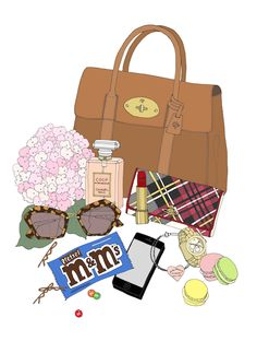 Client example. Custom What's in my Bag. www.emmakisstina.etsy.com