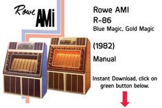 Rowe AMI R-86 Blue Magic, Gold Magic (1982) Manual  Jukebox Manual available $15 Download at jukeboxmanuals.com Blue Magic, Jukebox, Manual, Literature, Music, Gold, Vintage, Literatura, Musica