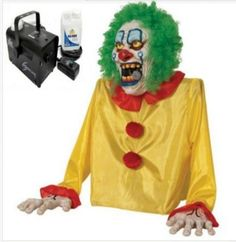 Halloween Animated Props Smokey The Clown Fogger With Fog Machine And Fog Fluid  #MorrisNational