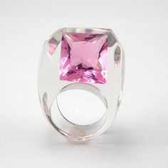Pink Crystal Ring Clear Resin Ring with Cubic Rose by sisicata, $55.00