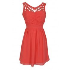 Laser Cut Chiffon Dress in Coral Lily Boutique $42