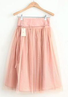 Nude Elastic Waist Belt Below Knee Cotton Skirt