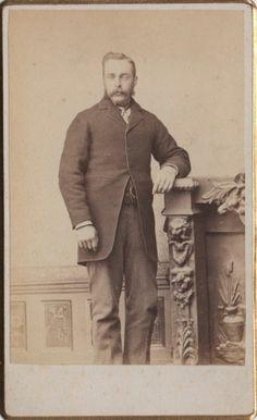 CDV photo Victorian Man Mustache Suit Fashion - Rockland Maine Studio 1890s