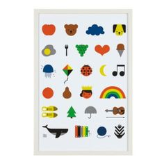 Sure, we all learned our ABC's.  But did you make sure to learn your Apples, Bears and Clouds? This piece of wall art features a cascade of illustrated icons, one of each letter of the alphabet.