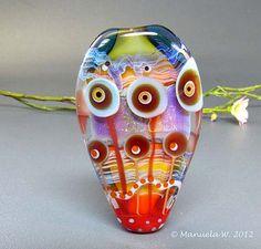 Water Flowers - Handmade lampwork glass focal flower bead by Manuela Wutschke