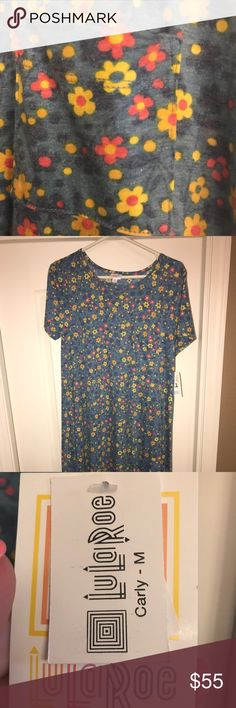 NEW Medium LulaRoe Carly. Brand New with Tags. This beautiful Carly is 50% Polyester 50% Cotton.  Lots of pretty colors, yellow, blue, pink, purple LuLaRoe Dresses High Low