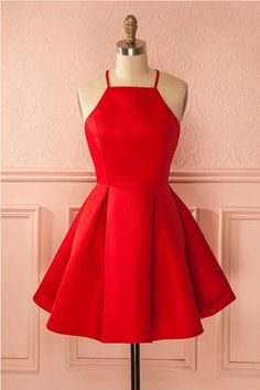 Short A-line/Princess Homecoming Dresses,Red Sleeveless With Pleated Mini Homecoming Dresses #homecomingdresses #minidresses #promdressesshort