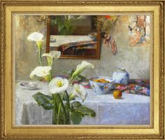 Joseph (Jef) De Belder (1871-1927), Still life with arum lilies, oil on canvas, 98.1 x 120 cm. Reproduction late 19th century French artist's frame with moulded bay leaf-&-berry ornament, gilded