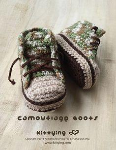 Camouflage Baby Boots Crochet Pattern by Crochet Pattern Kittying from Kittying.com / Mulu.us