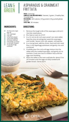 Spargel & Krabbenfleisch Frittata - New Ideas Medifast Recipes, Healthy Dinner Recipes, Low Carb Recipes, Diet Recipes, Cooking Recipes, Lean Recipes, Diet Meals, Healthy Options, Lunch Recipes