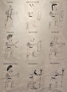 Types of Gladiators: There were many categories of gladiators, who were distinguished by the kind of armor they wore, the weapons they used, and their style of fighting. Most gladiators stayed in one category, and matches usually involved two different categories of gladiator.