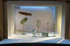 Designer Bob Crowley's model for the set by the river in the musical. The scene features a beguiling shift in perspective: The Seine is depicted vertically, effectively on the theater's back wall, complete with two boats dreamily floating on the water. Design Set, Stage Set Design, Theatre Design, Scenography Theatre, An American In Paris, Theater, Scenic Design, Exhibition Space, Media Design