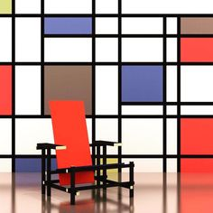 #MONDRIAN #RIETVELD #DESTIJL - #Chair designed in 1918 from #Dutch designer Gerrit Rietveld.