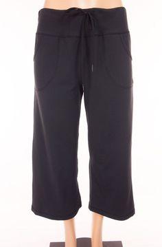 LULULEMON Still Crops 8 M Medium Black Pockets Yoga Wide Leg Pants #Lululemon…
