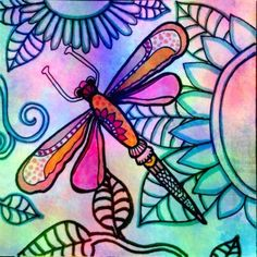 """Inner Glow"" Digital paint and ink dragonfly #robinmead #robinmeadart garden flowers floral wildgarden"