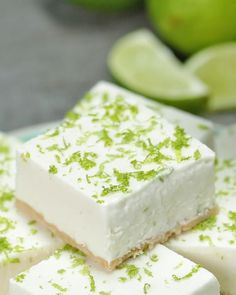 Healthier key lime bars recipe by tasty lime bar recipes, lime recipes baki Desserts Crus, Key Lime Desserts, Low Carb Desserts, Gluten Free Desserts, Healthy Desserts, Just Desserts, Delicious Desserts, Light Desserts, Plated Desserts