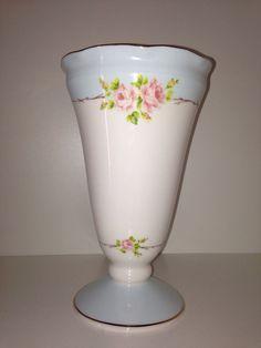Beautiful aqua blue and floral vase / shabby chic vase aqua blue / cottage rose vase on Etsy, $25.00