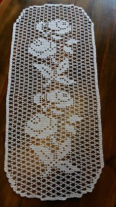 Vintage olive - khaki hand Crocheted cotton table runner table topper tray cloth crochet scarf with Filet Crochet, Crochet Motif, Crochet Doilies, Crochet Flowers, Hand Crochet, Crochet Lace, Crochet Stitches, Crochet Table Runner Pattern, Crochet Tablecloth