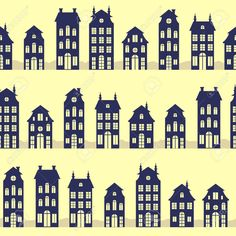 Holland Houses Silhouettes Seamless Pattern Royalty Free Cliparts, Vectors, And Stock Illustration. Image 26562587.