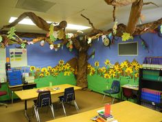 Tree wall decor classroom best of themes with trees decoration idea galleri Paper Tree Classroom, Diy Classroom Decorations, Classroom Walls, Classroom Design, Preschool Classroom, Classroom Organization, Tree Decorations, Classroom Ideas, Spring Rain