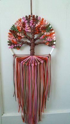Autumn tree of life 9 inches 23 cm diameter dreamcatcher boho bedroom decor macrame hoop art ready to ship Macrame Art, Macrame Projects, Micro Macrame, Macrame Knots, Diy Projects To Make And Sell, Diy And Crafts, Fall Crafts, Art Macramé, Motifs Perler
