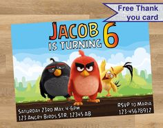 ANGRY BIRDs invitation, Angry Birds personalized invitation, Angry Birds Birthday, Angry Bird Printable, Angry Birds movie custom invitation by DesignMadeDesigns on Etsy Shopkins Invitations, Birthday Invitations, Personalized Invitations, Custom Invitations, Free Thank You Cards, Angry Birds, Printables, Handmade Gifts, Movie