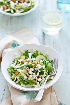 Shaved Fennel & Arugula Salad with Zucchini, Pine Nuts, Feta, Fresh Dill, Lemon & Olive Oil.