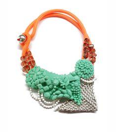 Denise Julia Reytan_Vigére necklace 2010  Silver, cacholong, cairngorm, plastic, rope, cable, etc.