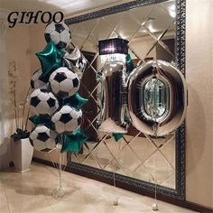 Online Shop for soccer party decorations Wholesale with Best Price Soccer Birthday Parties, Football Birthday, Soccer Party, Sports Party, Birthday Balloons, Birthday Party Themes, Boy Birthday, Graduation Parties, Themed Parties